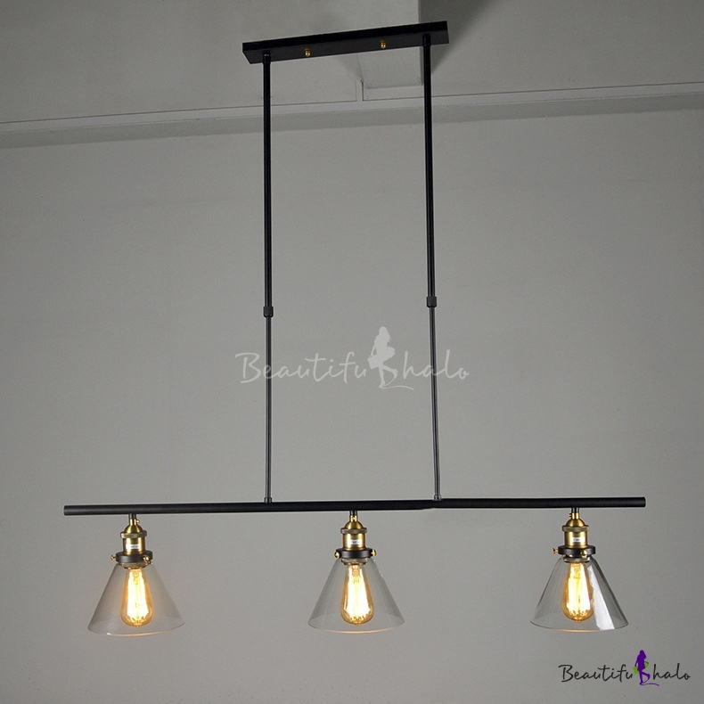 Industrial 3 Light Rustic Ceiling Light Black Billiard