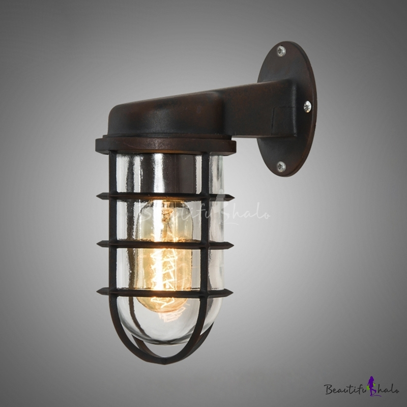 Rustic One Light Metal Hallway Sconce Antique Bronze 374 Industrial Wall