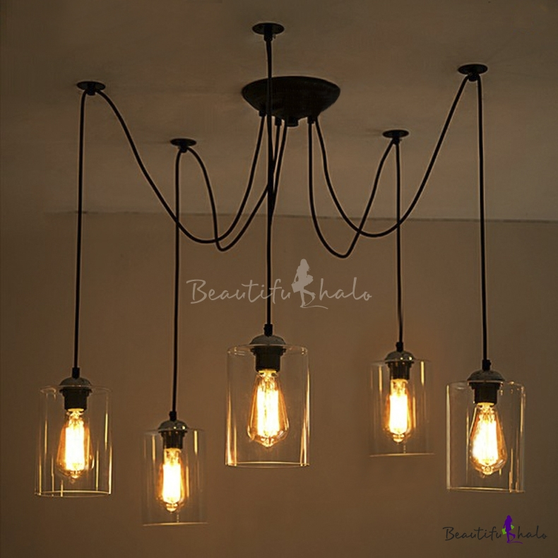 5 light swag pendant indoor ceiling fixture with clear glass shade