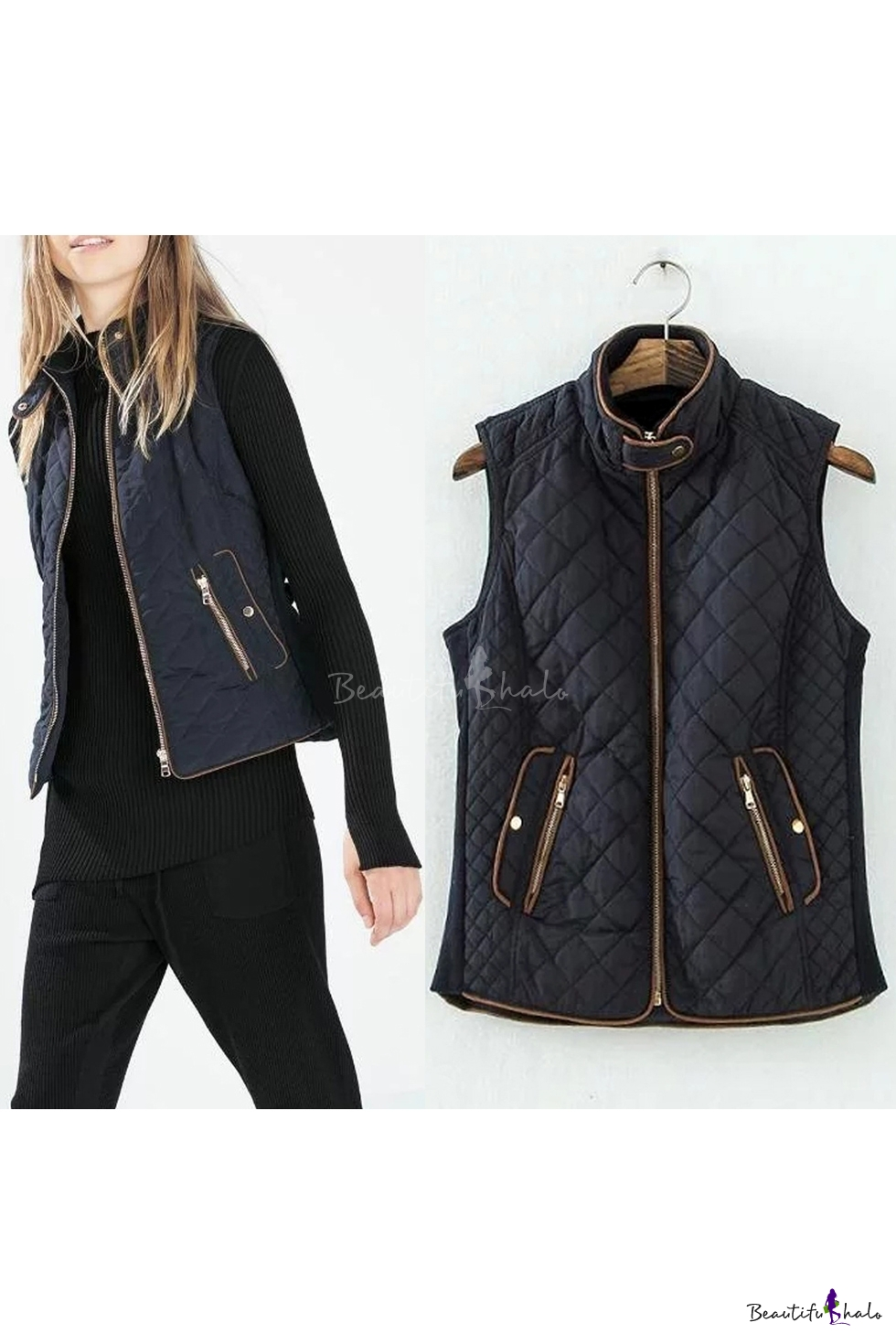Womens Lightweight Quilted Zip Jacket/Vest - Beautifulhalo.com