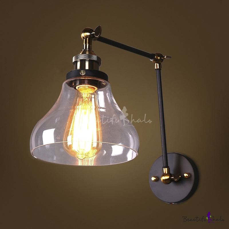 Traditional Clear Glass Shade 1-Light Industrial Wall Sconce in Black Finish - Beautifulhalo.com
