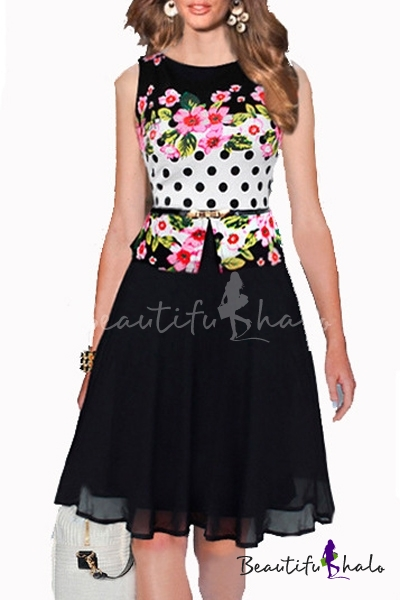 Buy Sleeveless Floral Printed Midi A-Line False Two-Piece Dress