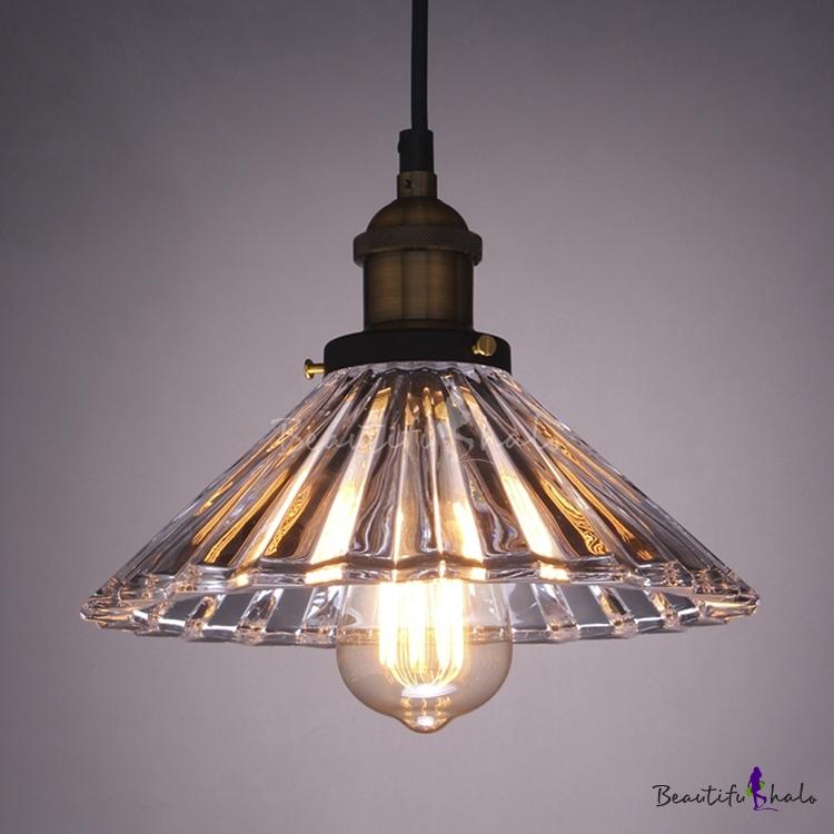 Single Light Industrial Crystal Glass Shade Bedroom