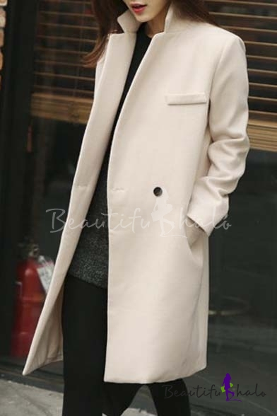 Buy Chic Plain Single Button Notched Lapel Long Sleeve Tunic Coat