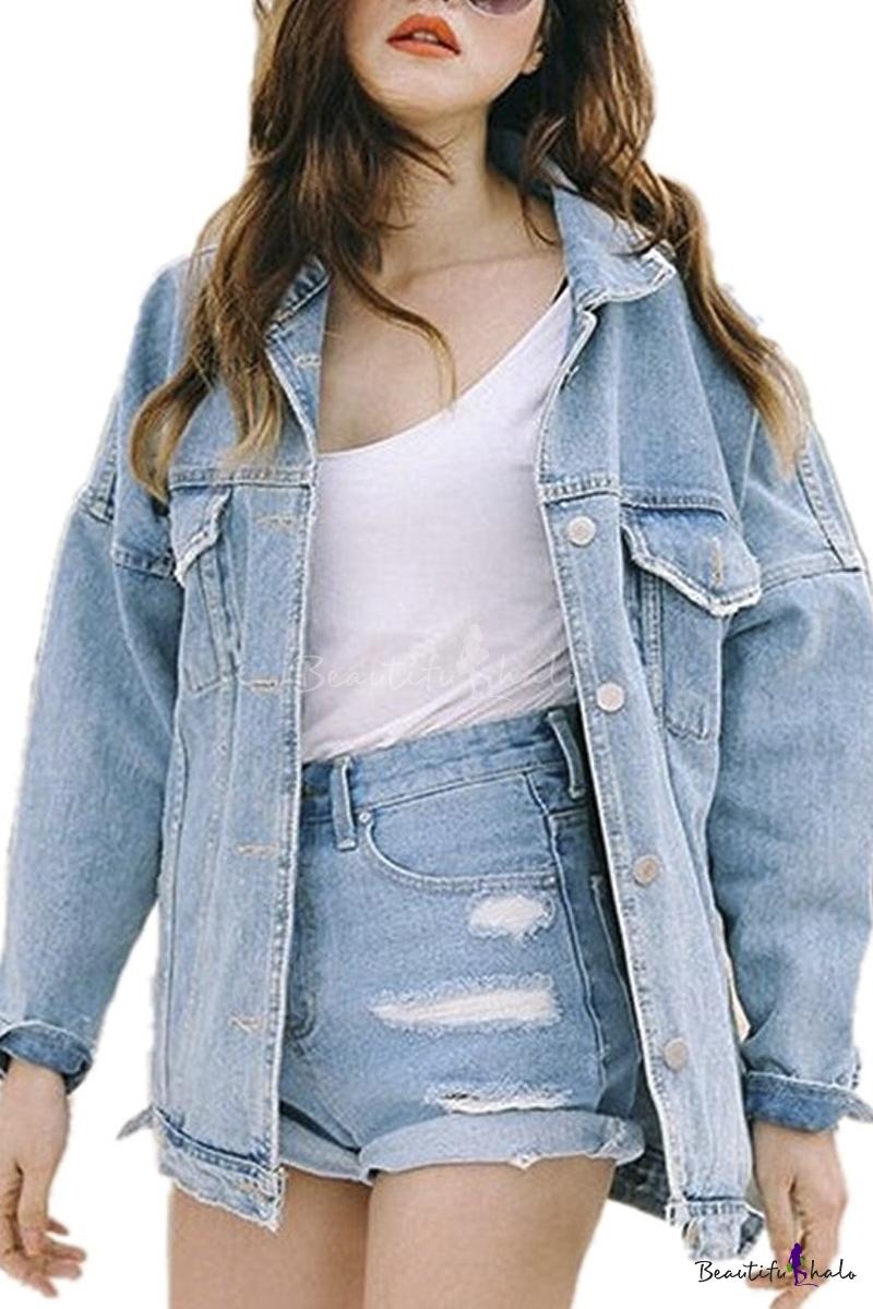 Womens Fashion Juniors Long Sleeve Loose Cowboy BF Denim Jacket ...