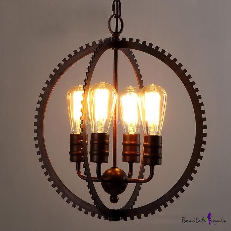 Buy Industrial Vintage Style 4 Light Chandelier Gear Shape