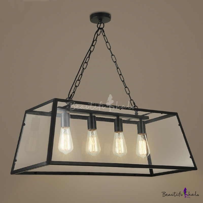 "Black Chain Hanging 30.7"" Industrial Foyer Four Light"