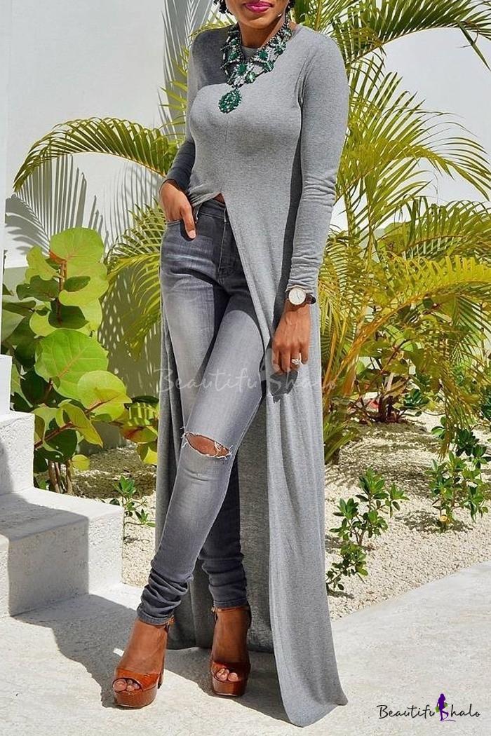 1f6e7c46a0 Women Long Sleeve Open Side Split Long Maxi Dress T Shirts Tops -  Beautifulhalo.com