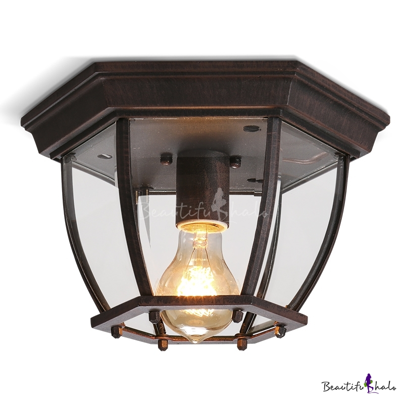 rustic vintage  light industrial flush mount ceiling