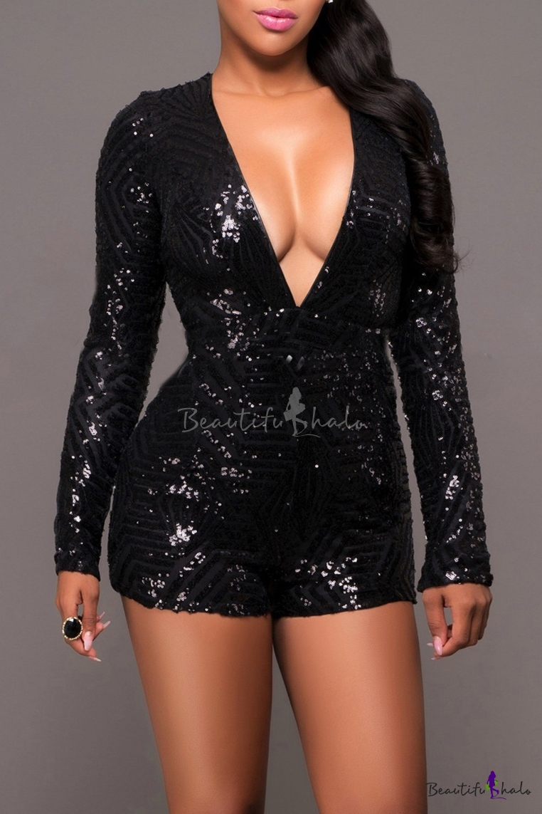 c656e07ba4b6 Women s Sexy Sequin Deep V Neck Backless Bodycon Shorts Rompers Jumpsuit