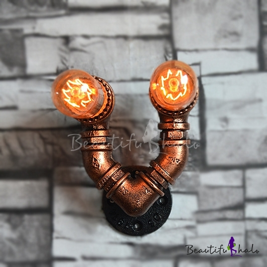Buy V Shaped Antique Copper 2-Light Wall Light Wrought Iron Industrial Sconces
