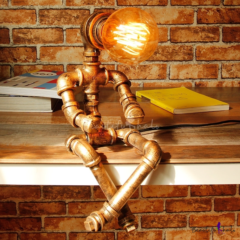 Novel Pipe Lighting Fixture Sitting Doll Shaped Industrial