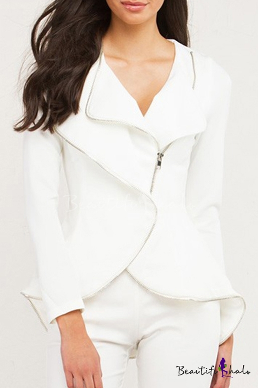 Buy Women's Fashion Lapel Collar Asymmetrical Zip Placket Long Sleeve Plain Blazer Coat
