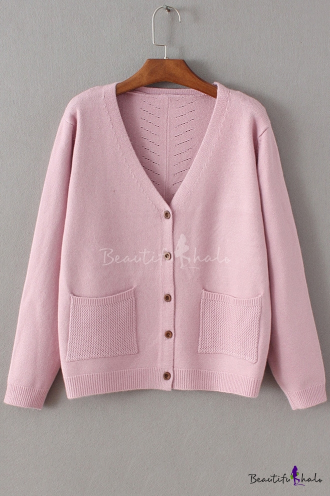 Women's V Neck Long Sleeve Buttons Down Plain Knit Cardigan with Double Pockets
