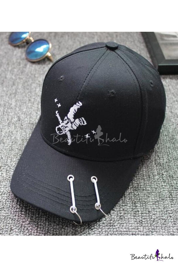 ebca9bcf35fb5 Unisex Embroidery Astronaut NASA Pattern Summer Outdoor Baseball Cap with  Embellished Rings - Beautifulhalo.com