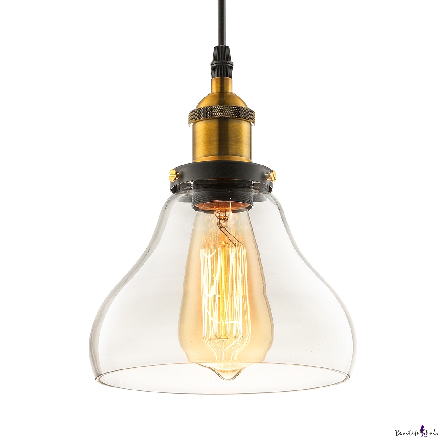 Fashion style pendant lights bronze industrial lighting vintage led mini pendant 1 light with clear glass bowl shade mozeypictures Image collections