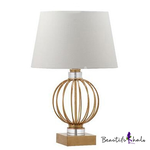 Contemporary Sphere Cage Table Lamp in Steel with Trapezoid Shade ...