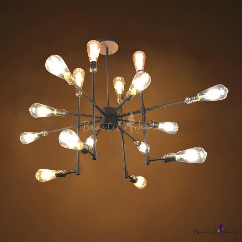 Industrial Interior Lighting Fixtures: 16'' Wide Industrial Style 16 Light Sputnik LED Chandelier
