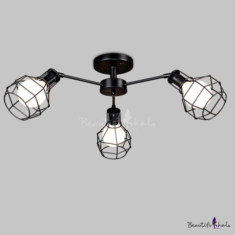 Wire Guard 3 Light Semi Flush Mount Light In Black Finish