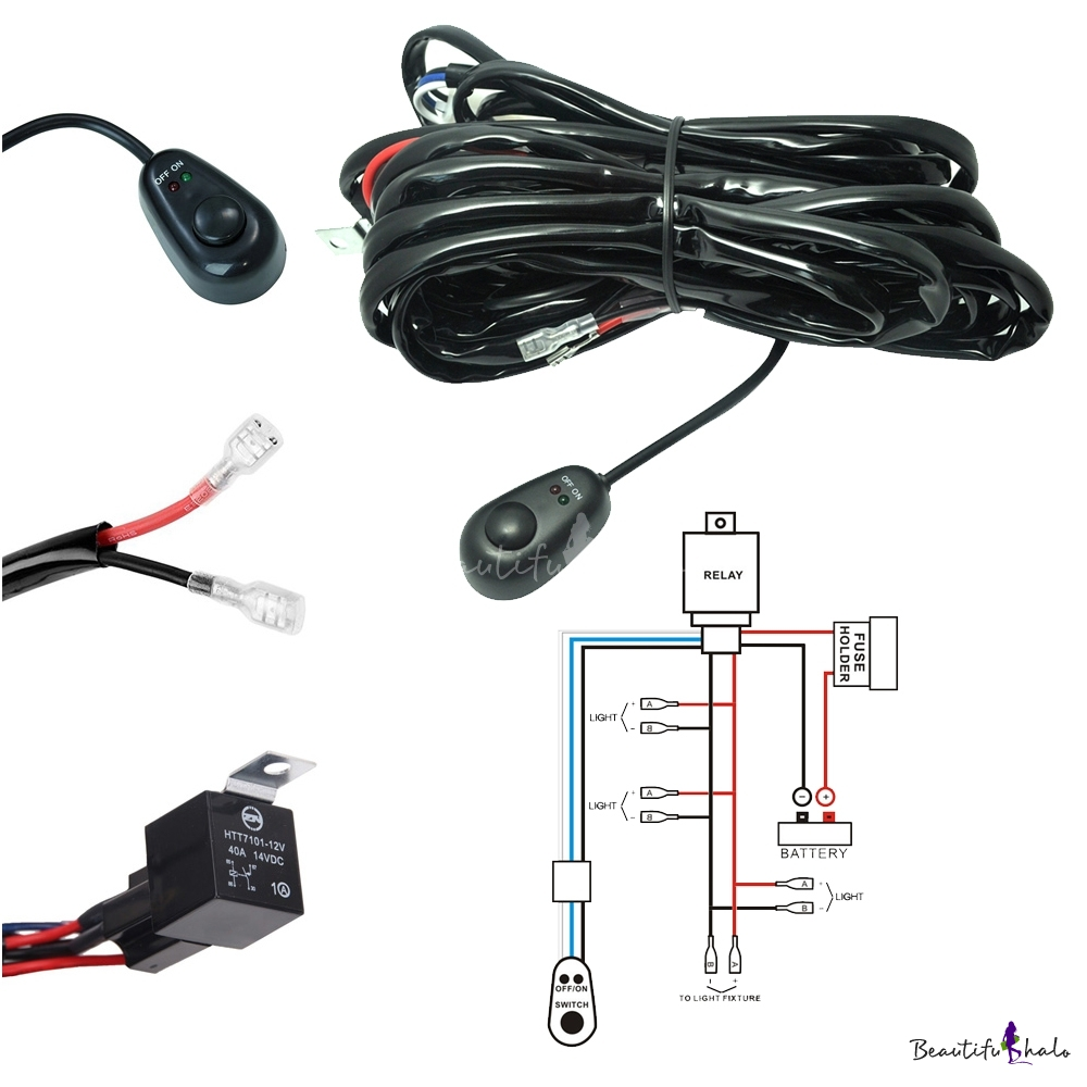 Led Light Bar With Wiring Harness : Led light bar wiring harness kit w v a fuse relay