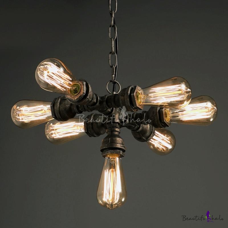 adjustable 7 bulb pipe led pendant chandelier in antique iron finish. Black Bedroom Furniture Sets. Home Design Ideas