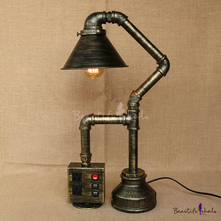 Industrial Antique Bronze Table Lamp With Conical Shade