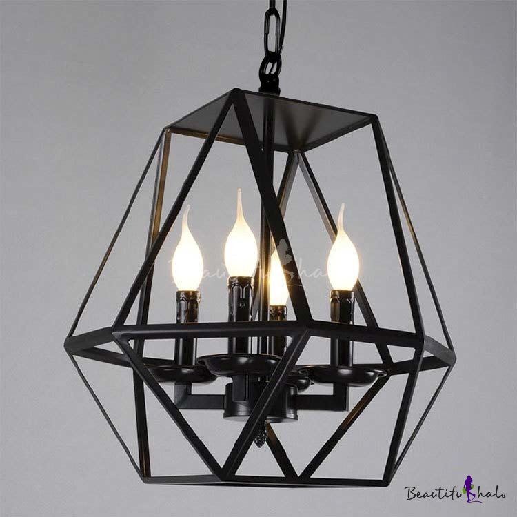Foyer Lighting Nz : Black light diamond shape led chandelier foyer pendant