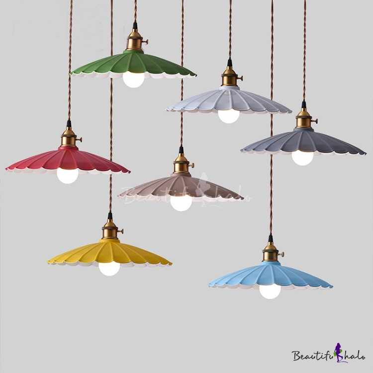 Scalloped Shade Single Pendant Light In Vintage Style For