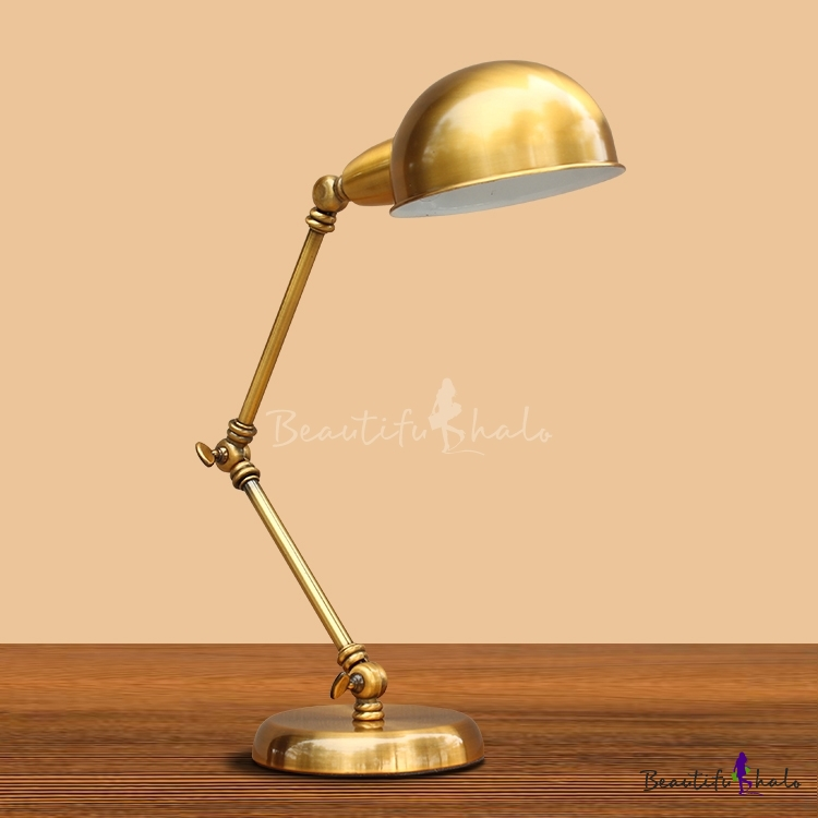 Industrial Desk Lamp Adjustable Arm With 6 Inch Wide Gold