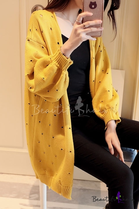 7ae7a5f23a7 Fashion Hollow Out Puff Sleeve Long Sleeve Plain Open Front Cardigan