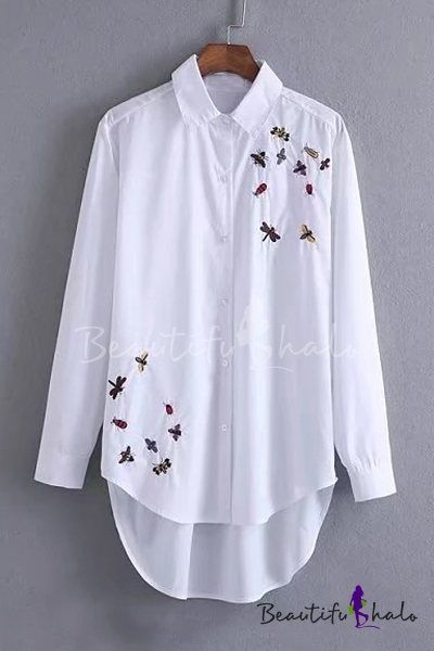 Chic dragonfly bee embroidery lapel collar long sleeve