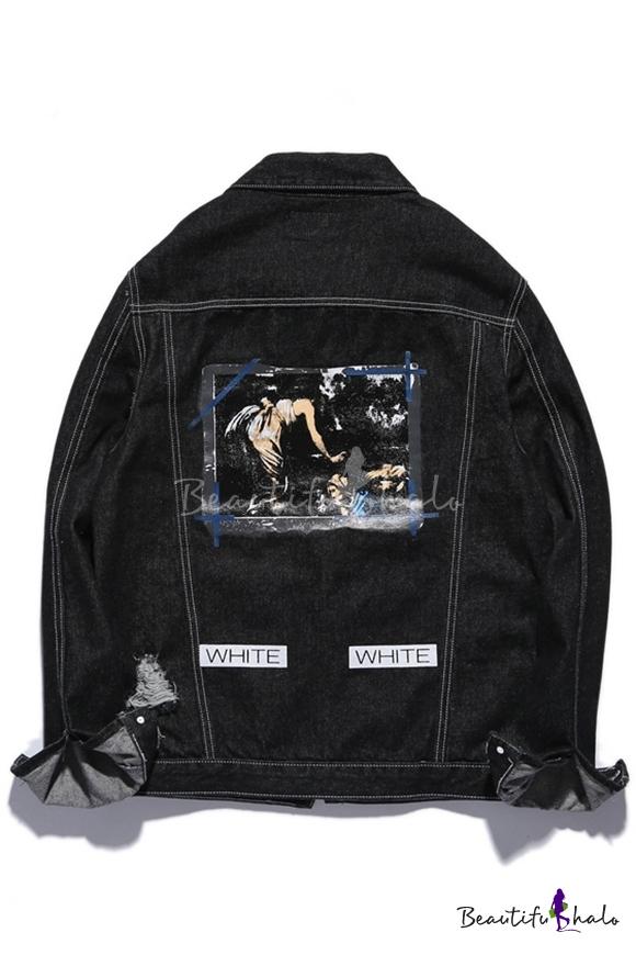 8f87ba403 Oil Painted Printed Back Lapel Single Breasted Black Denim Jacket