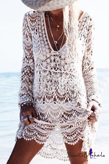 eee2075dbb447 Sexy Lace Hollow Out Plunge Neck Long Sleeve Plain Outdoor Beach Cover Up  Swimwear