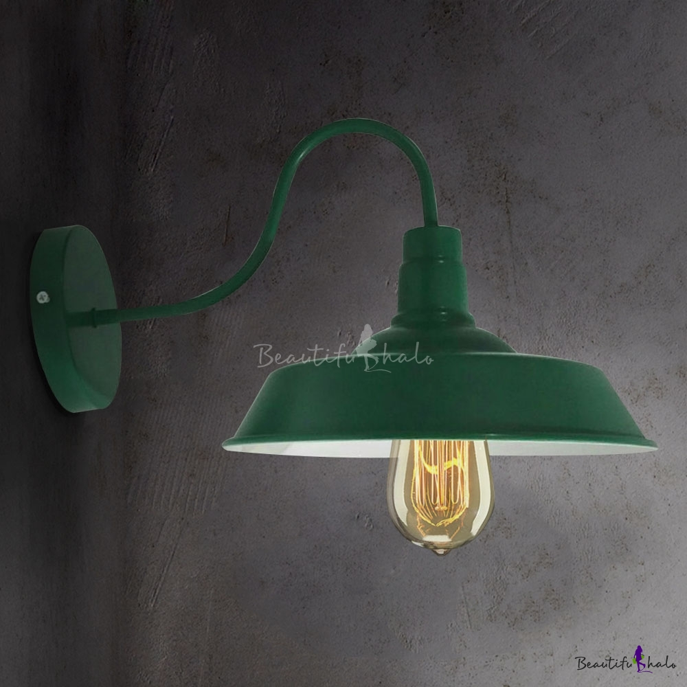 Green Single Light Down Light Barn Style Shade Gooseneck Arm LED ...