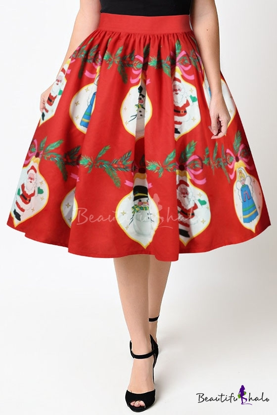 New Collection 3d Christmas Santa Claus Pattern Midi