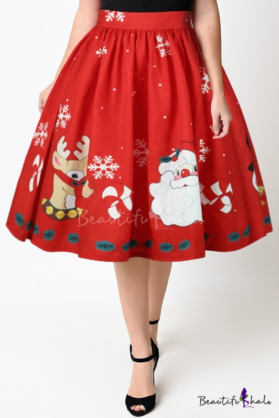 ed7eb806f8 New Arrival High Waist Digital Santa Claus Pattern Midi Flared Skirt