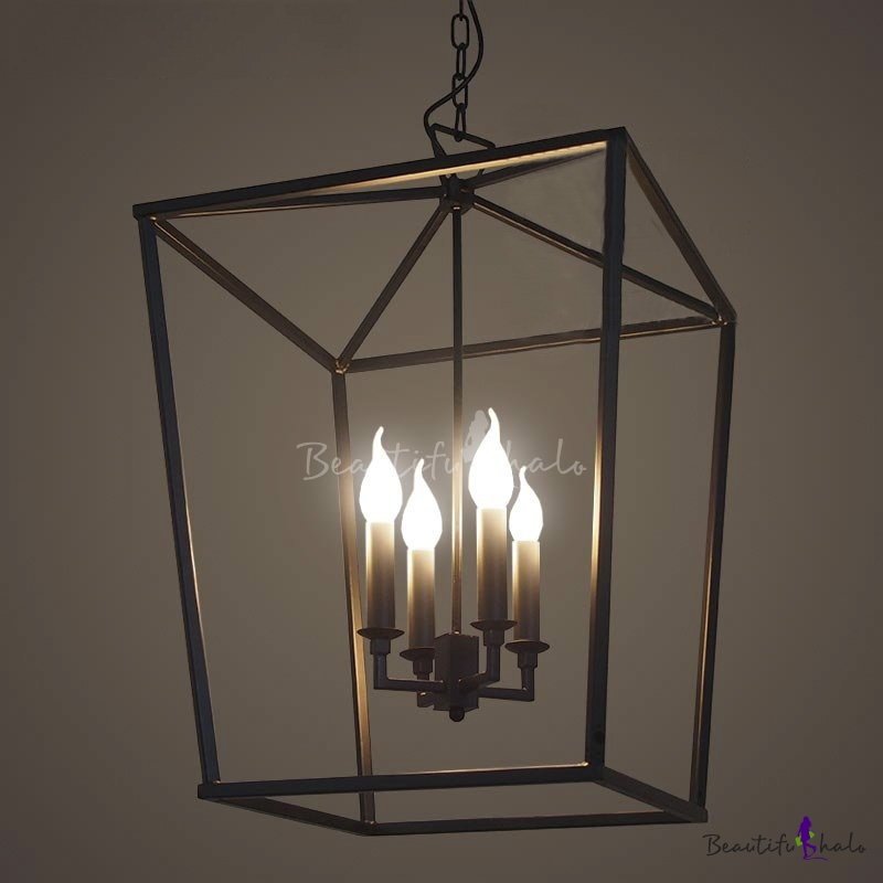 Matte Black 4 Light Square Open Cage LED Pendant