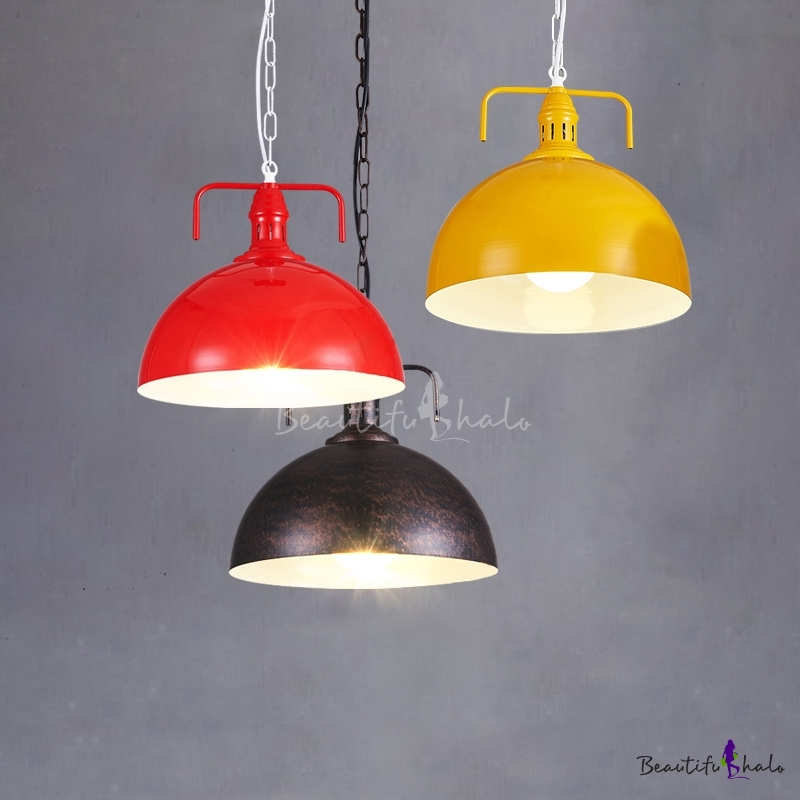 Yellow Industrial Pendant Light: Industrial Pendant Light With 11.81''W Dome Metal Shade In