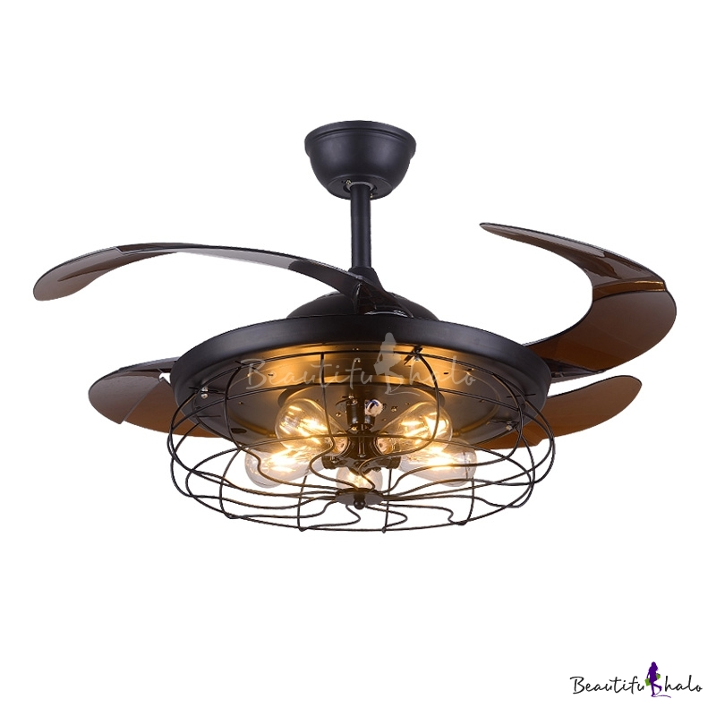 Industrial Fan Ceiling Light Fixture Metal Cage With ABS