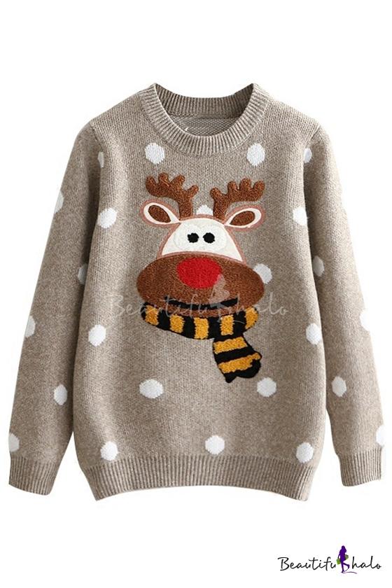 Halo Christmas Sweater.Christmas Elk Polka Dot Pattern Long Sleeve Round Neck Warm Sweater
