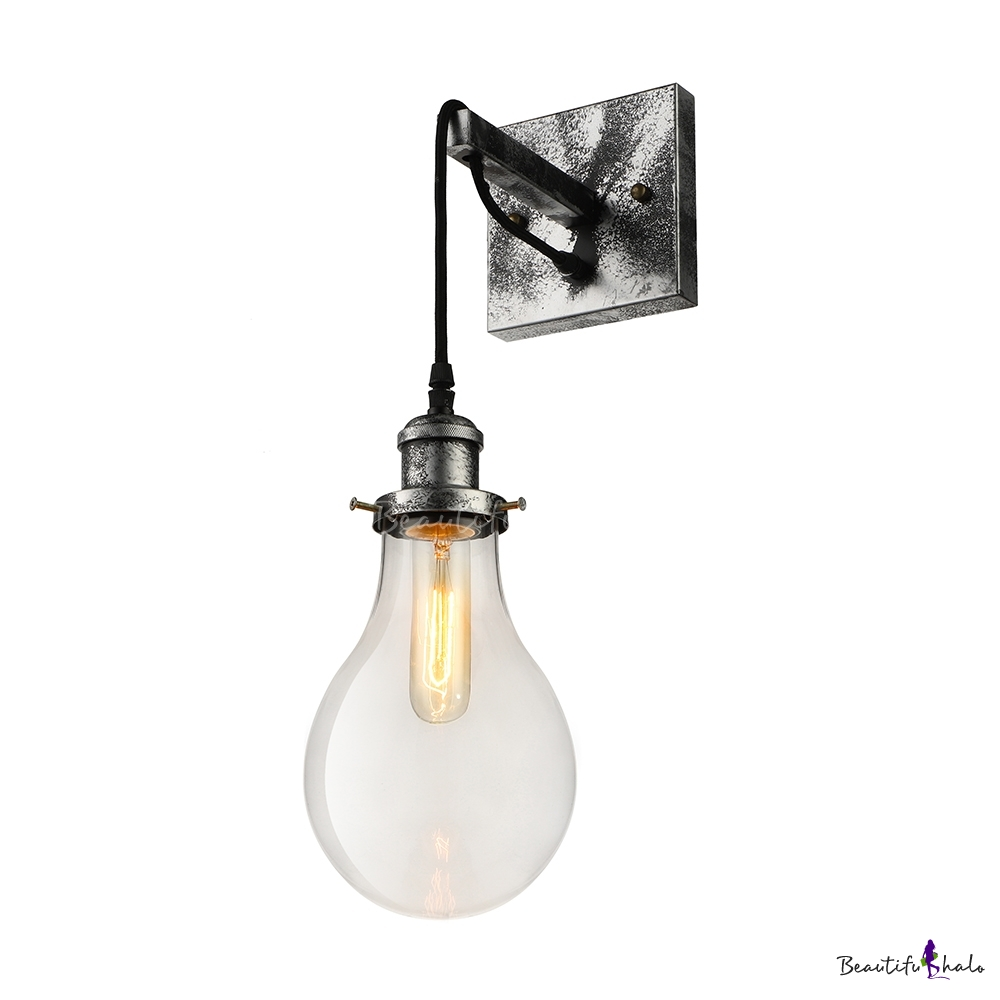sports shoes 5992e 66b75 Industrial Wall Sconce with Teardrop Shape Glass Shade