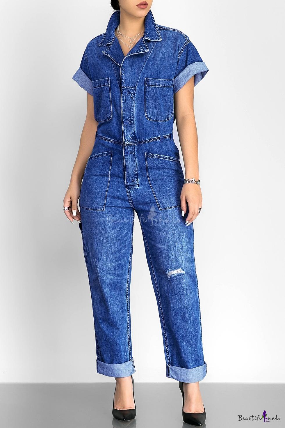 Fashion Simple Plain Lapel Buttons Down Short Sleeve Denim Jumpsuit - Beautifulhalo.com