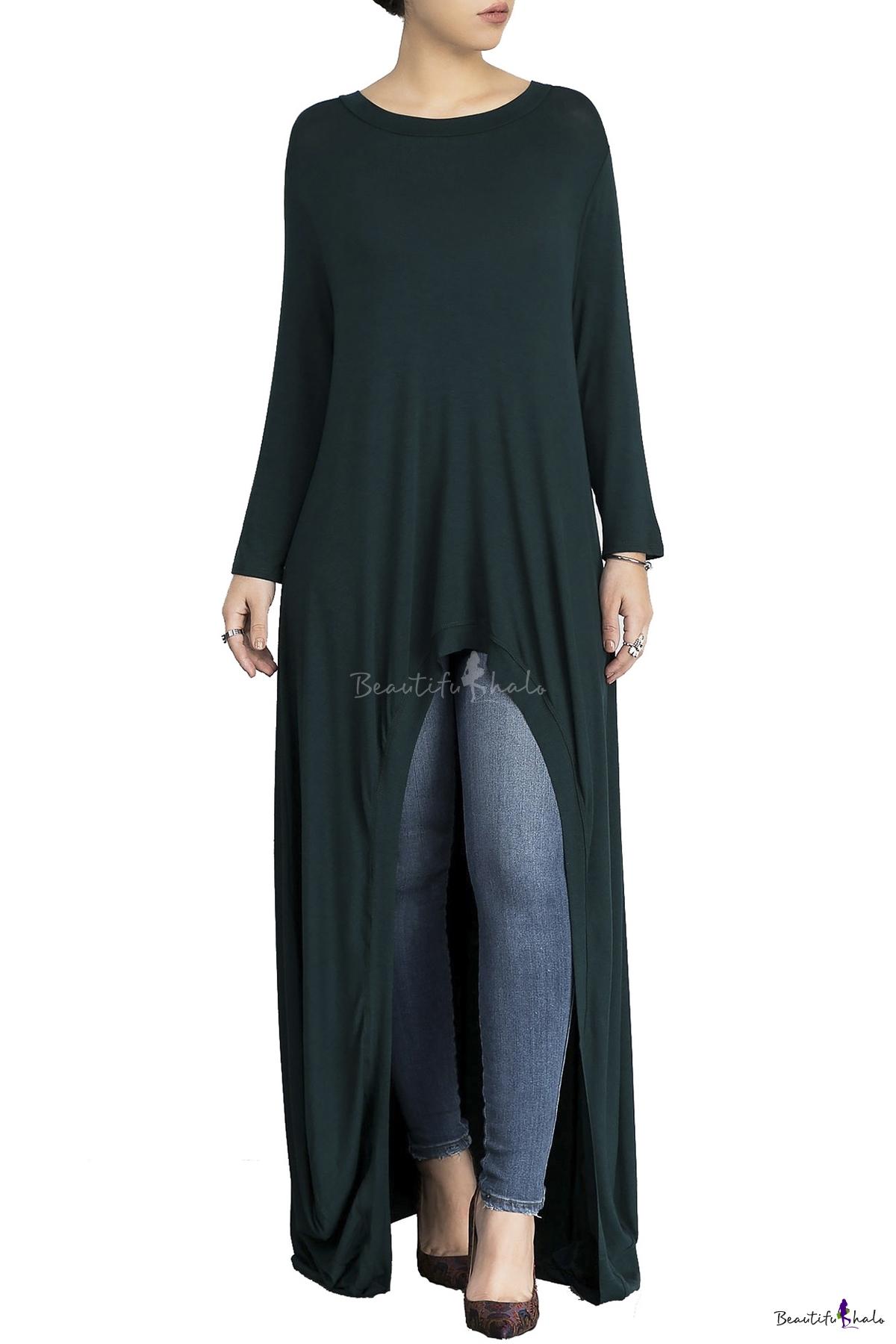 Leisure Round Neck Long Sleeves Loose Draped Dipped Hem Maxi T Shirt