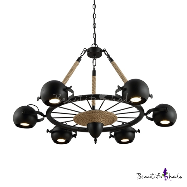 Industrial 6 light spotlight chandelier with rope in black finish industrial 6 light spotlight chandelier with rope in black finish beautifulhalo mozeypictures Choice Image