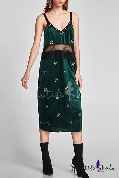 b9da0b707a Summer Collection Floral Embroidery Lace Patchwork Beaded Velvet Midi Cami  Dress