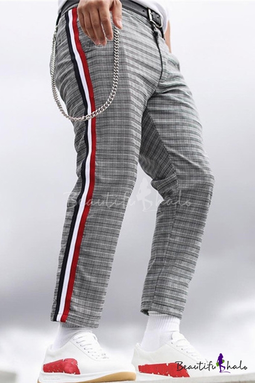 15a733cf Man's Popular Leisure Color Block Stripes Side Plaids Printed Straight Pants