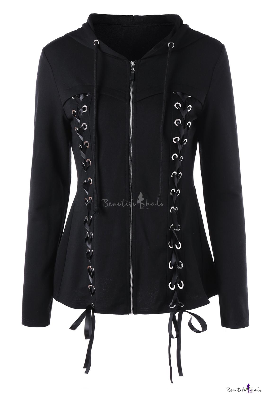 Lace Up Grommet Embellished Long Sleeve Plain Zip Up Hooded Coat
