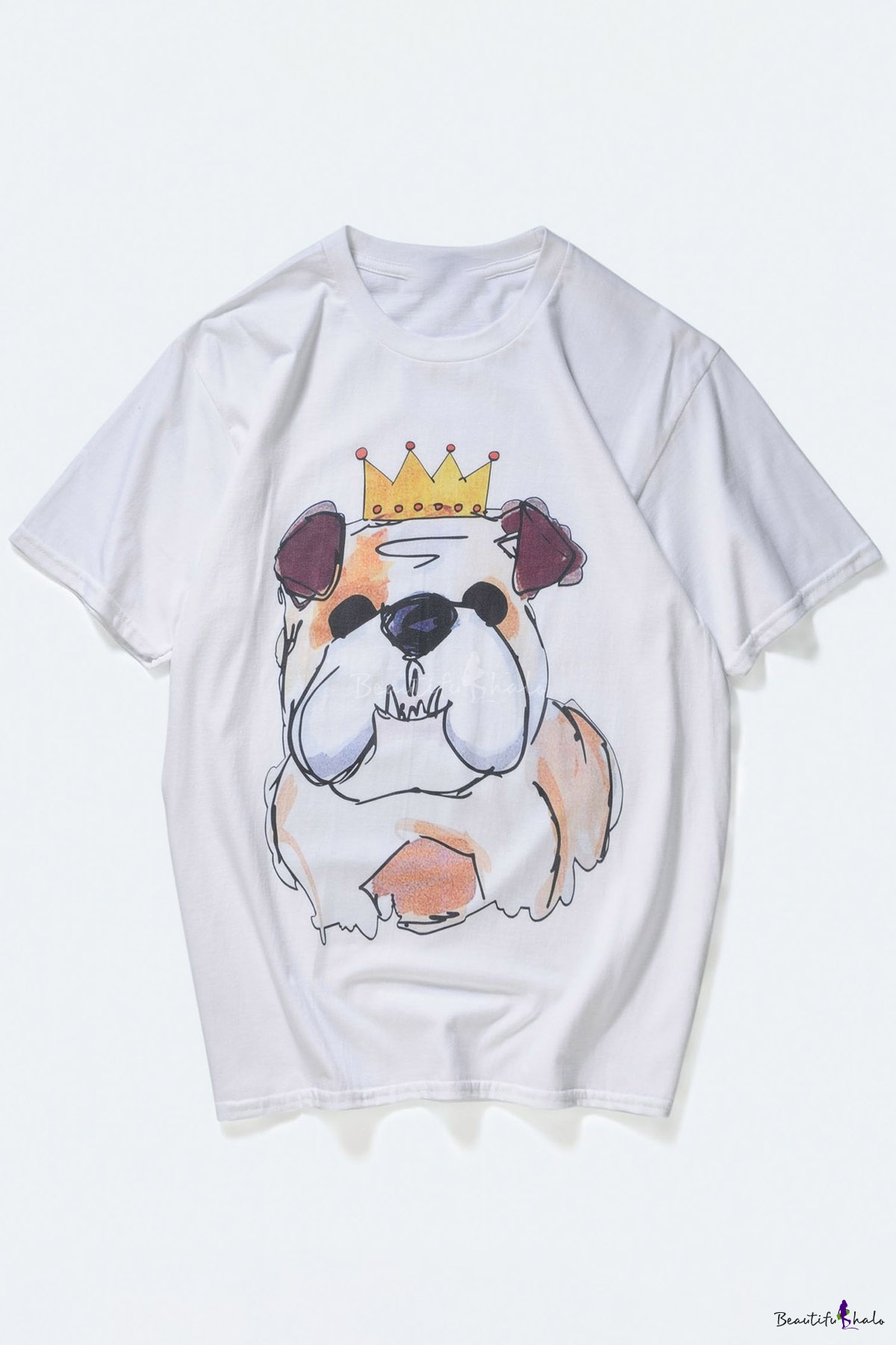 Cute Dog Cartoon Crown Print Round Neck Short Sleeves Casual Tee Beautifulhalo Com Vector illustration for greeting card, poster, or print on clothes. beautifulhalo