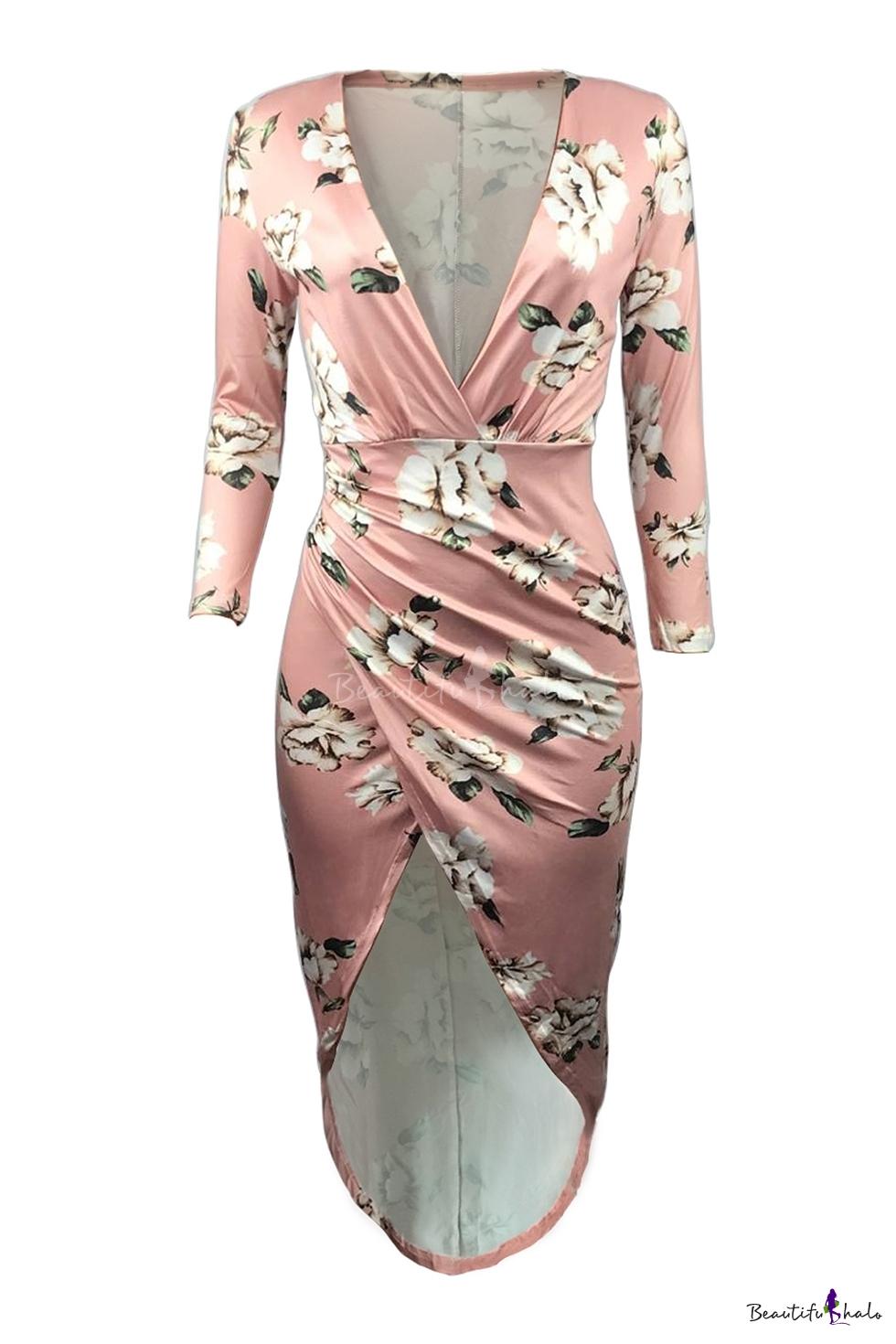 Plunge Neck High Low Hem Floral Print Long Sleeve Elegant Asymmetrical Dress Beautifulhalo Com