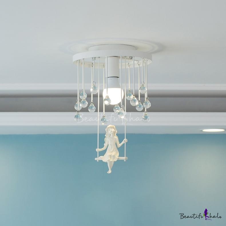 Kids Bedroom Lighting Flush Mount Crystal Chandelier Swing Crystal Balls Flushmount Light Beautifulhalo Com